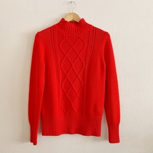 NWT J. Crew Red Cable Knit Sweater Size Small